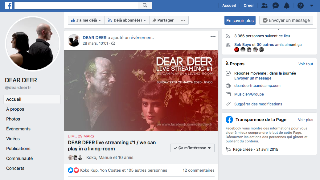 DEAR DEER has created a Facebook Event to invite his fans
